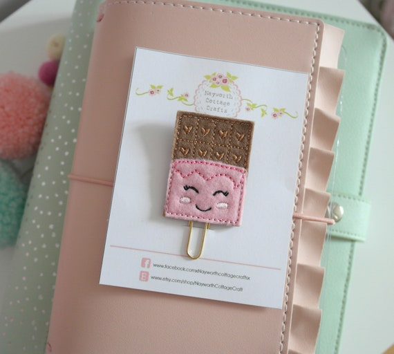 bookmark journal filofax bullet Pink Tea cup felt paper clip Embroidery