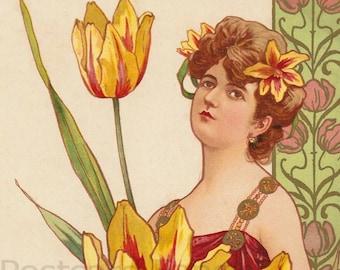 Art Nouveau Pretty Lady, Instant DIGITAL Download, Pretty Yellow Flowers, Vintage