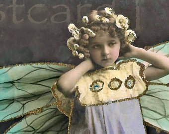 ADORABLE Butterfly Girl Photo, Vintage DIGITAL Download, Real Photo