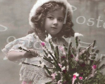 Precious Little Girl with Chrismtas tree, REAL PHOTO Vintage Postcard, Instant Digital Download