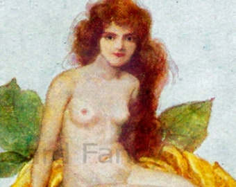 Beautiful Nude Lady Sitting on Yellow Rose, Instant DIGITAL Download, FLOWER FANTASY