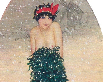Brrr, Beautiful Sexy Lady in Mistletoe Dress, Instant DIGITAL Download, Kirchner Vintage Christmas