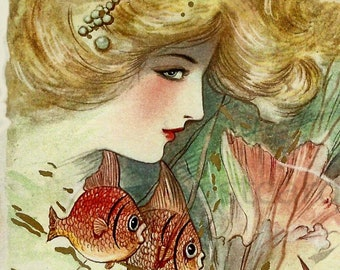 Stunning!  Mermaid Lover with Fish, Instant Digital Download, Vintage Image
