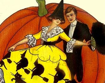 ART DECO Pretty Lady Dancing, Pumpkin, Black Cats, Instant DIGITAL Download