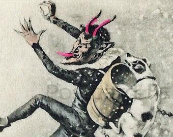 KRAMPUS Devil In Snow With Dog Biting, Instant DIGITAL DOWNLOAD, Vintage Postcard