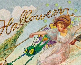 WITCHES Wedding Day, Antique HALLOWEEN Postcard Illustration, Instant DIGITAL Download