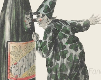 NEW YEAR Clown Punching Champagne Bottle, Instant DIGITAL Download, Vintage Postcard