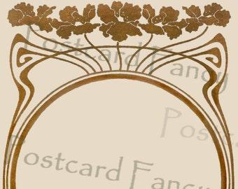Stunning gold ART NOUVEAU border, Vintage Postcard, Instant Digital Download, Add Photo or Text
