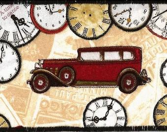 Pretty Time Traveler Fabric Postcard, Vintage Auto, Clocks FABRIC Postcard