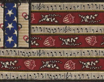 Patriotic Fabric Postcard with music notes, stars in a FLAG pattern, AMERICANA Fabric Postcard