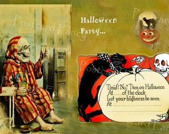Halloween Party Invitation, INSTANT DIGITAL DOWNLOAD, Vintage Images, Add Text