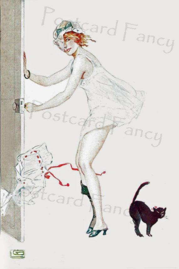 ART DECO Sexy Lady with black cat, Instant DIGITAL Download, Printable  Vintage Postcard of Glamour Girl on a windy day