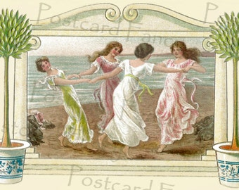 DELIGHTFUL Dancing Ladies by the sea, Art Nouveau Vintage Postcard, Instant Digital Download