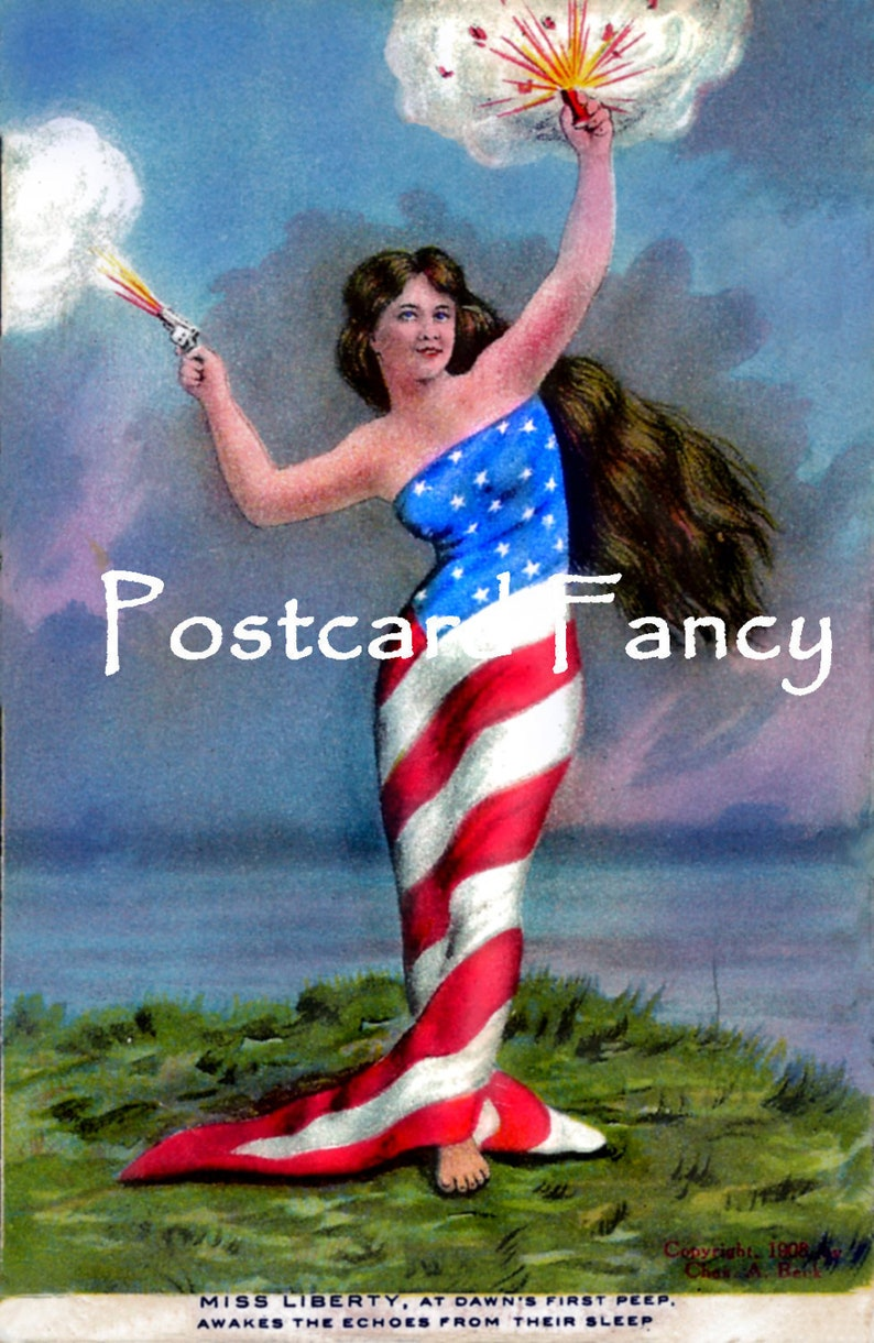 American Flag Lady Instant Digital Download Miss Liberty At Dawn