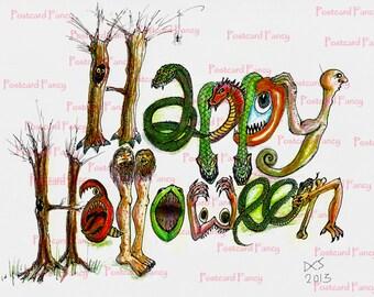 Instant Digital Download, Original Illustration Happy Halloween, pen and ink, colored pencils