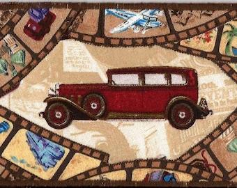 Travelin in slow motion fabric postcard, ROAD TRIP Fabric Postcard