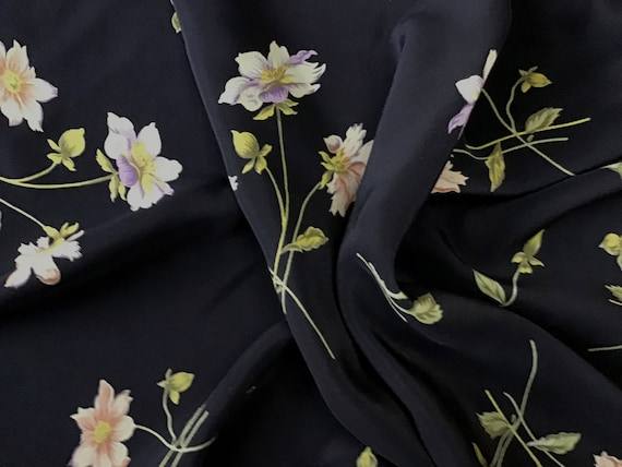 Soft Dark Navy Silk Crepe with Very Subtle Lavender and Pink Cream Flowers and Olive Green Stems