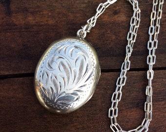 Vintage Birks Sterling Silver Oval Locket Necklace