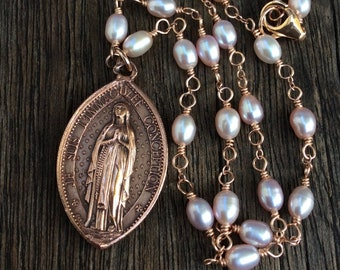 Antique Copper Virgin Mary Immaculate Conception Medal Necklace, Penin Medallion