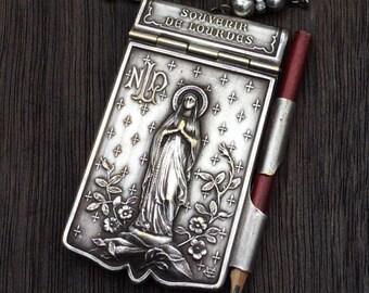 French Vintage 1920s Our Lady of Lourdes Carnet de Bal, Aide de Memoire Necklace, Religious Assemblage