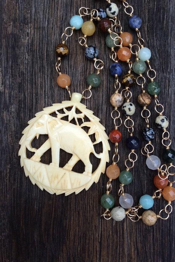 Large Vintage Elephant  Necklace, Multi Gemstone C