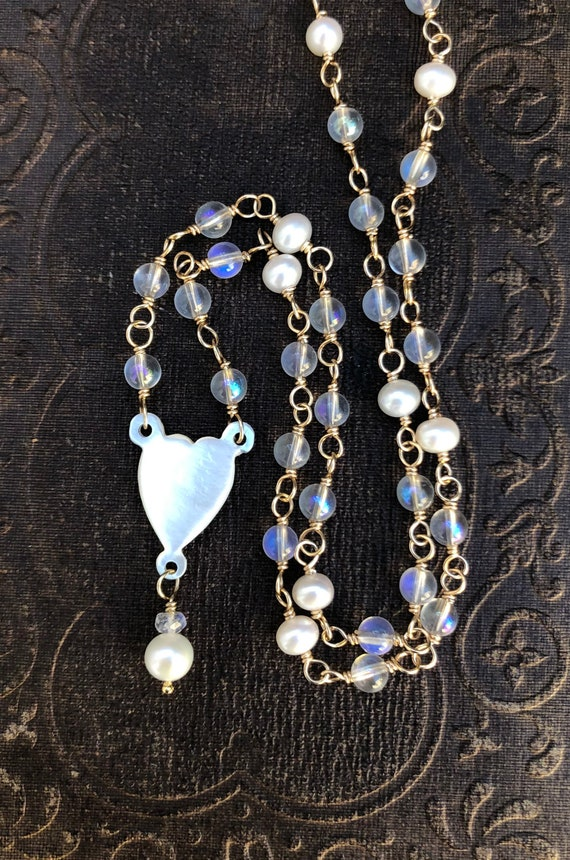 Vintage Mother of Pearl Heart,  Rainbow Quartz and