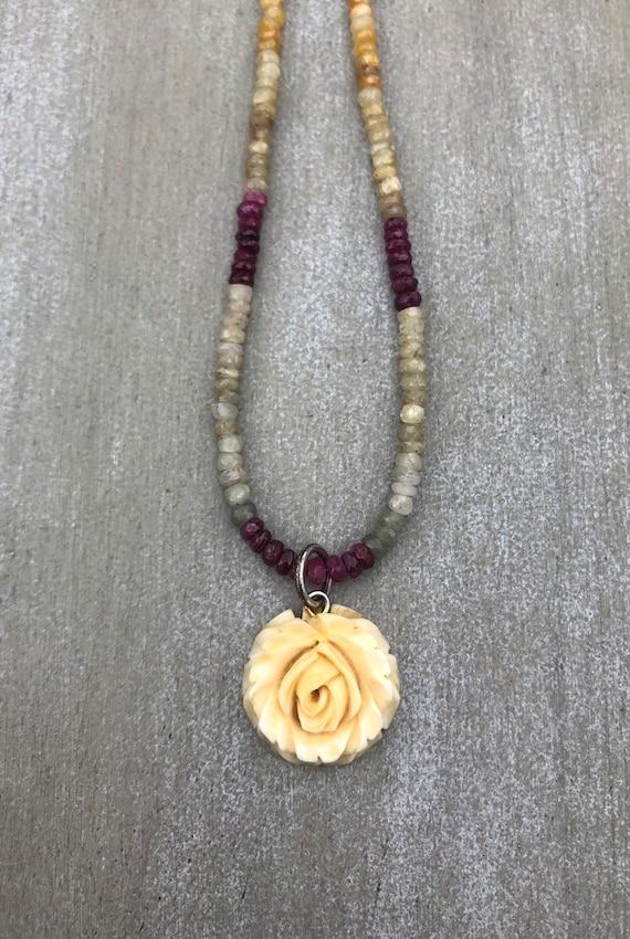 Vintage Carved Bone Rose Necklace Natural Ruby Gemstone Chain Etsy