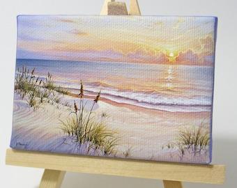 2.5x3.5 Florida Gulf Sunrise, Ocean Seascape Mini Painting by J. Mandrick