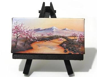 2x4 Cherry Blossom Mini Painting by J. Mandrick