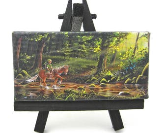 2x4 Legend of Zelda, Link and Epona, Mini Fridge or Easel Painting by J. Mandrick