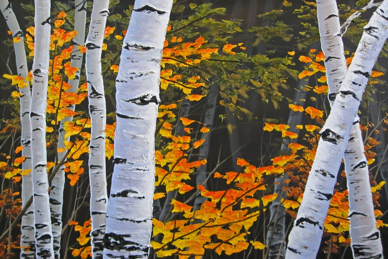 Commission  24x36 Autumn Birch Tree in Orange Heavy Texture image 0