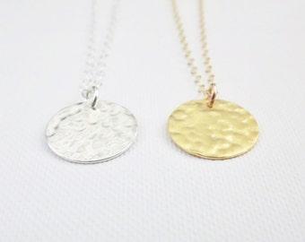 Gold Disc Necklace - Hammered Disc- 24k Gold Vermeil or Sterling Silver