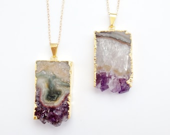 Amethyst Slice Necklace - Geode Druzy Crystal Gemstone - Gold Dipped - Long Layering Necklace - OOAK