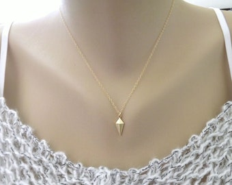 Gold Rhombus Necklace -14k Gold Filled Chain - Simple Modern Geometric Minimal - Gold Kite
