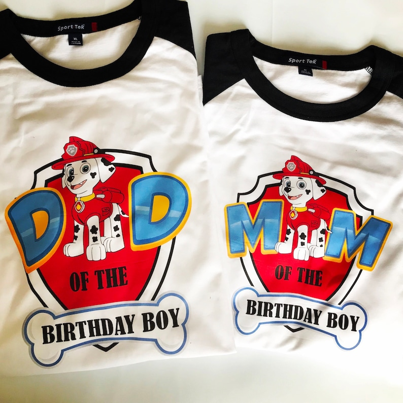 2a0f1984d11 Personalized Custom Paw Patrol Mom and Dad Raglan Shirts | Etsy