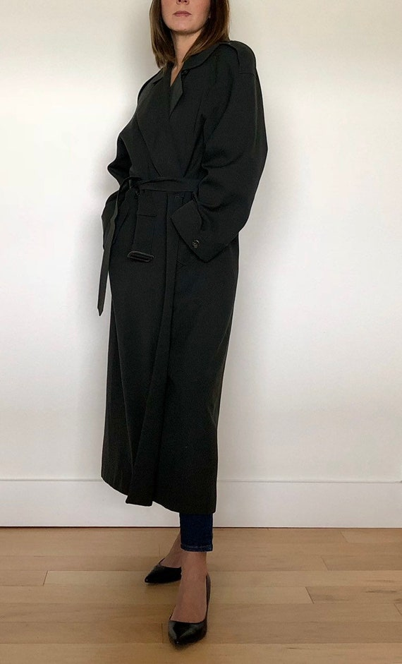 Trench Coat / Vintage Long Trench Coat / Warm Wool