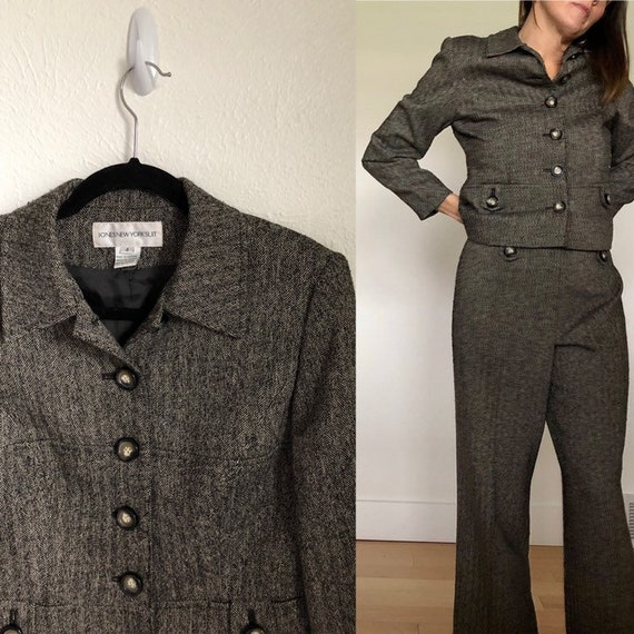 Vintage Two Piece Pants Suit / Tweed Blazer and Dr