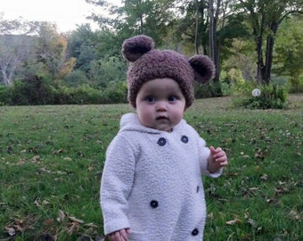 Crocheted  Bear Hat,  Fuzzy Bear Hat, Baby Photo Props,Kids Warm Hats, Animal Hats,Baby Hats, Kids'& Baby Fashion,Mommy and me Hats