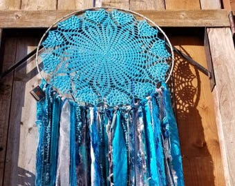 Large 18 inch Turquoise ready to ship dreamcatcher, Crocheted Dreamcatcher, OOAK