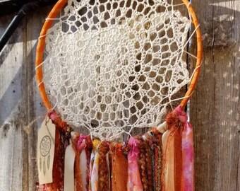 8 inch Cream and corals dreamcatcher, Tye dyed Dreamcatcher