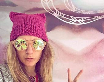 Pink Pussy Hat, Woman's Cat hat,Woman's Pink Pussy Hat,  Knit Winter Hats,Pink Pussy Hat Project, Womens March,