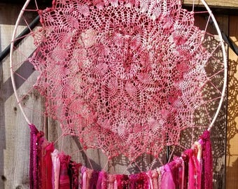 18 inch tye dyed Pink Large Dreamcatcher, Ready to ship, OOAK