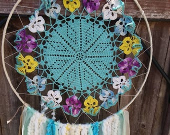 15 inch Turquoise Pansy Dreamcatcher, Wallhangings,Wall decor