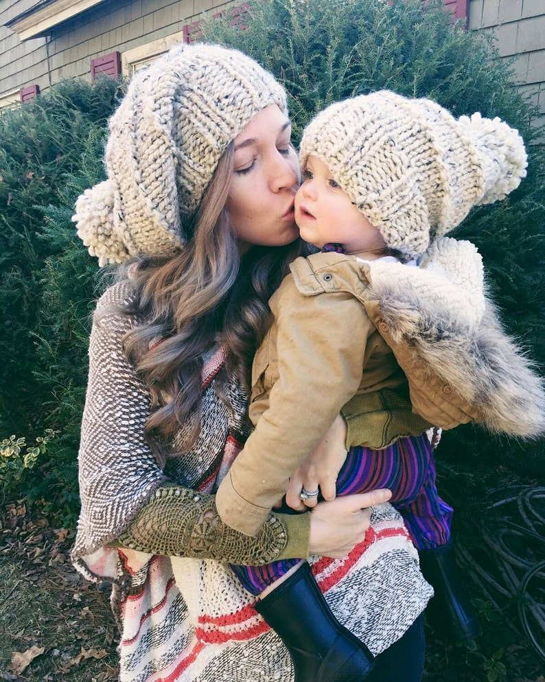 51f396a9208 Mommy and me Slouchy Hat SetUnisex Winter HatWarm Hat.