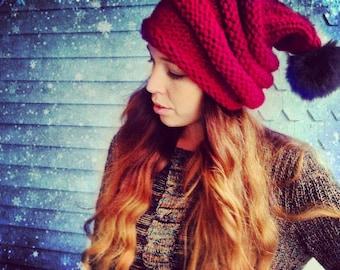 Hand Knit Beehive Slouchy Pom Pom Beanie,Red Santa Stocking Pom hat Hat,Unisex Hat,Chunky Knit Hat,Winter Hat, Santa Slouchy, Hippie Hat