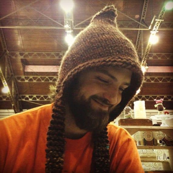 Hand Knitted Pixie Hat Mens hat Unisex Warm Winter Hat Ski  37cac93560c