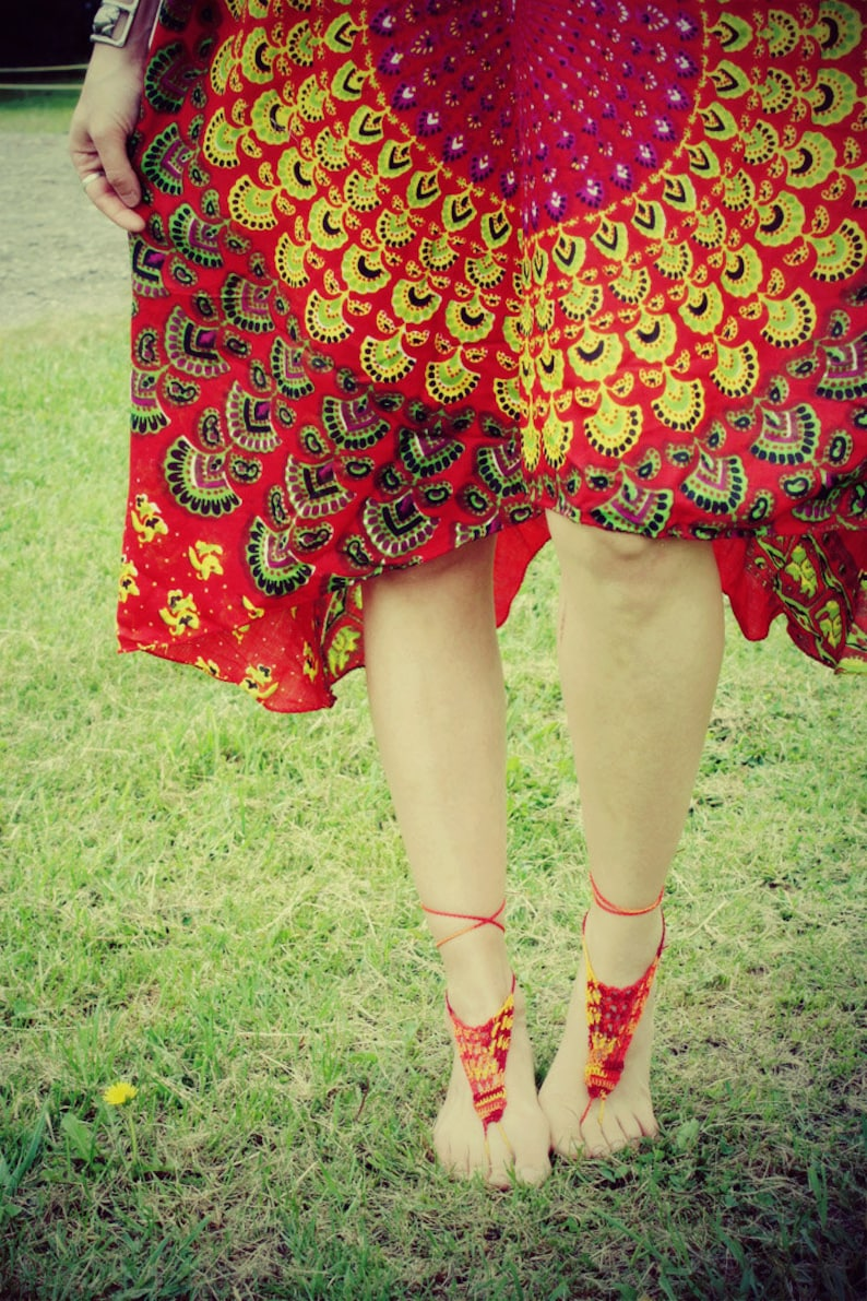Festival Bohemian,Shower Favors Crochet Barefoot Sandals,Hippie Foot Thongs,Bridesmaids,Summer Beach,Lace up Sandals Burning Man