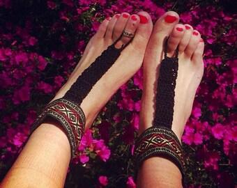 Beautiful Aztec Barefoot Sandals,Hippie Gladiator Style Crochet Accessories, Bridal, Bridesmaids, Summer, Beach