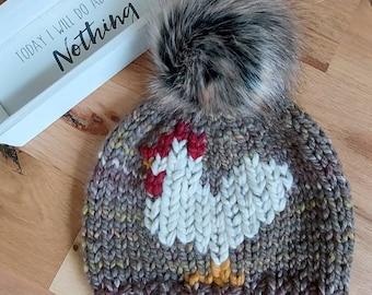 Chicken Hat, Warm knit hat, unisex, slouchy, beanie hats, Women's Hats, Snowboarding Hats, Handmade Gifts,