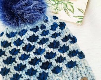 The Lotus Flower Beanie, Luxury Knit Hat, Merino Wool Hat, Ski Hat, Bulky Knits, Hand Dyed hat